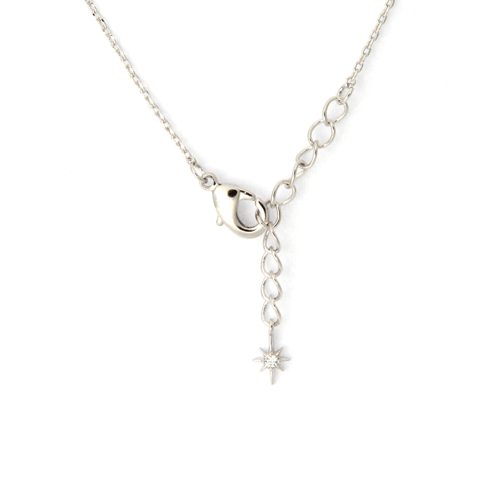 CZ Crescent Moon and Tiny Stars Necklace Plated Brass, 16.5 inches