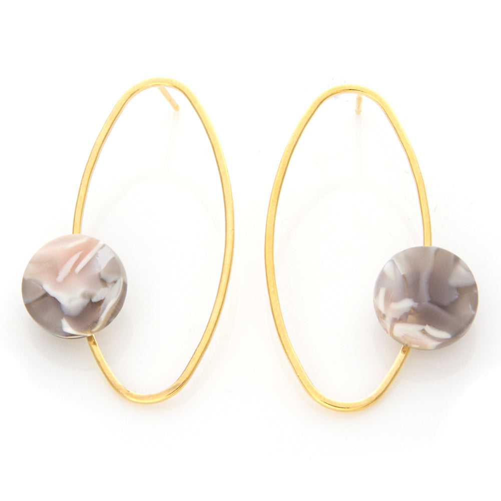 Open Oval with and Circle Earrings
