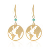 Cut Out World Map Disc Drop Earrings