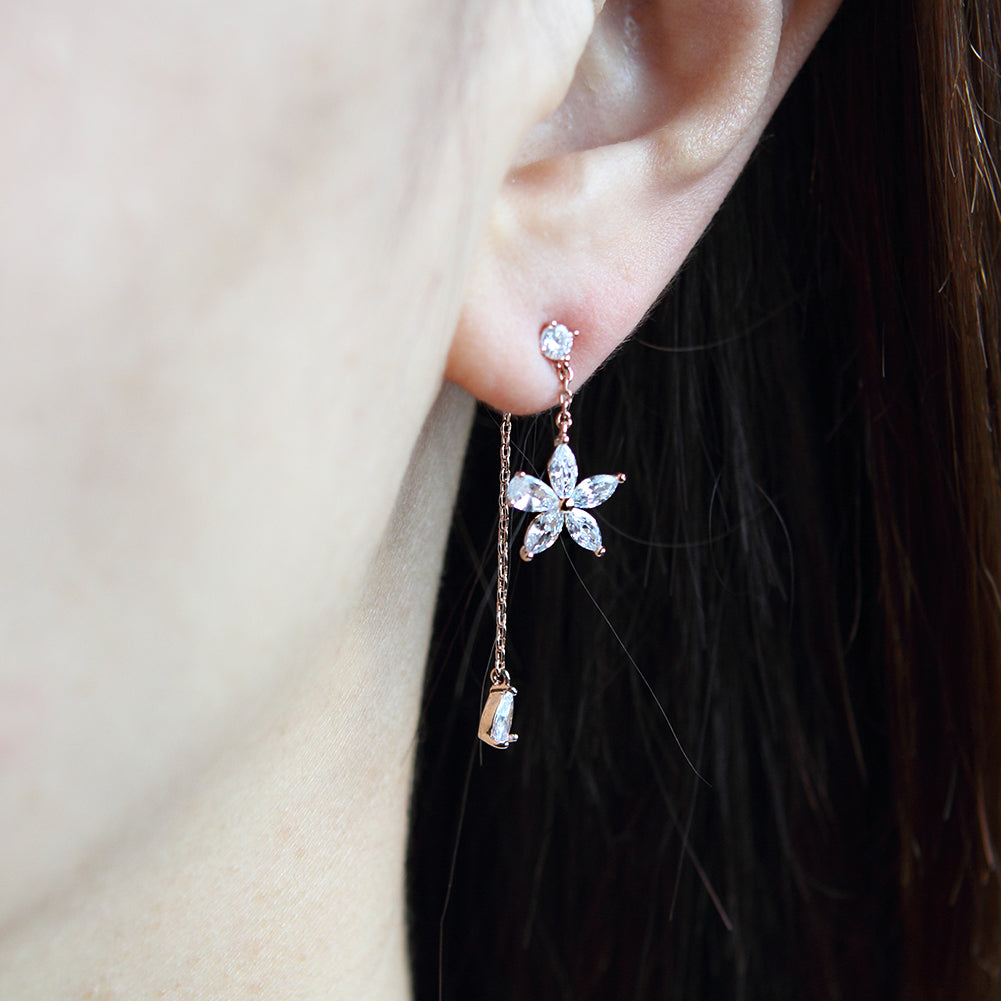 Crystal Flower and Teardrop CZ Chain Drop Earrings