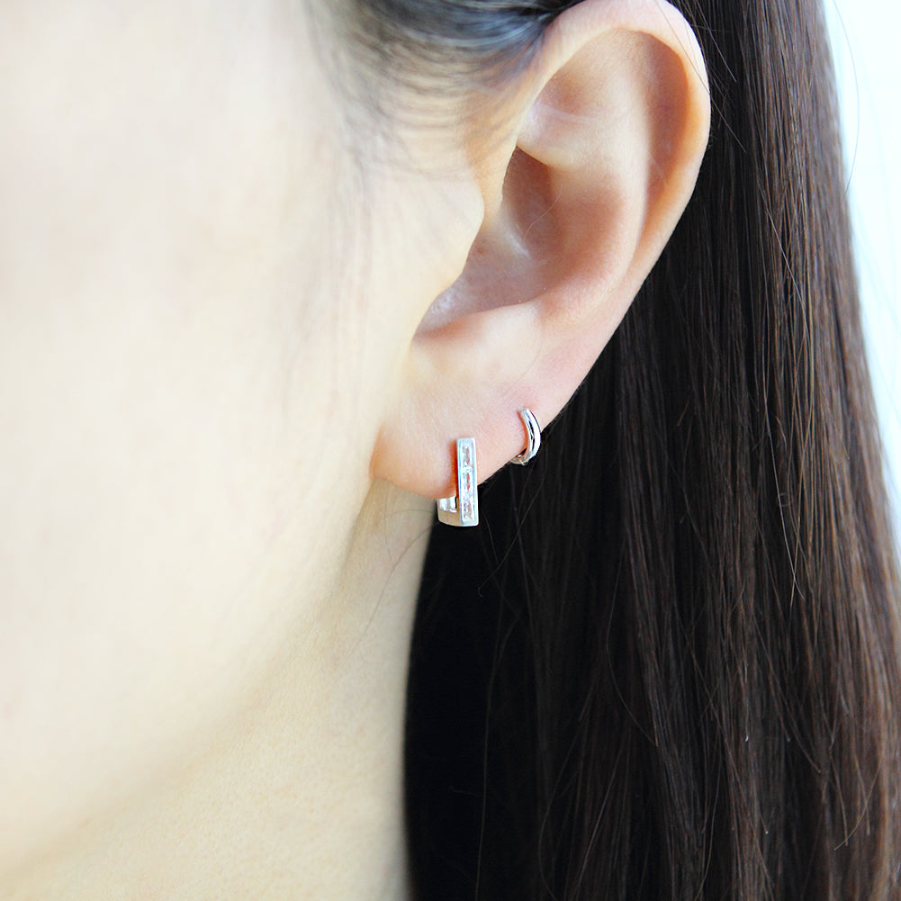 Square Huggie Hoop Earrings in 925 Sterling Silver