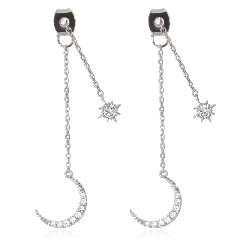 Crescent Moon and Star Chain Drop Earrings