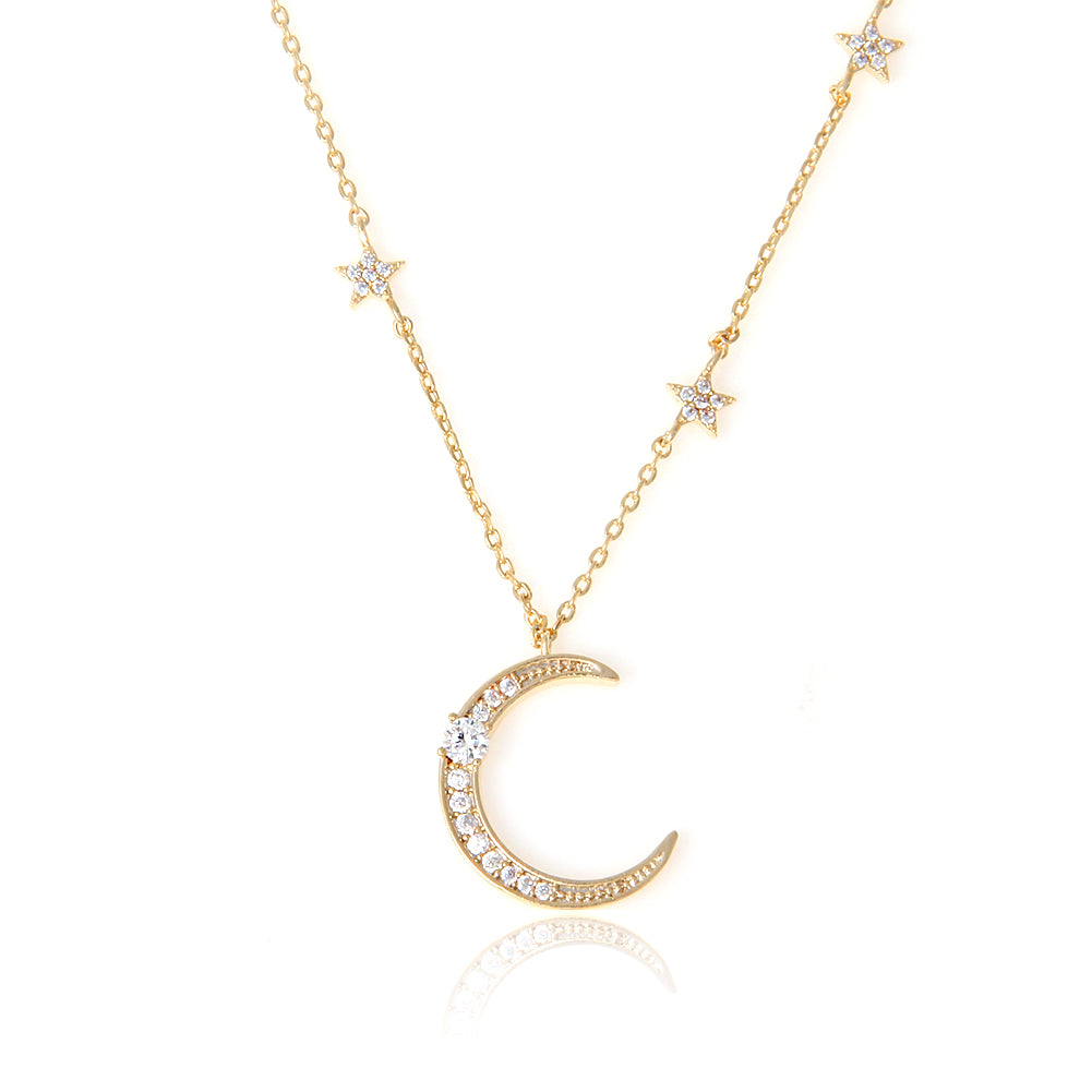 CZ Crescent Moon and Tiny Stars Pendant Long Necklace
