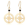 Cut Out Compass Disc Drop Earrings