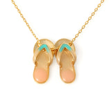 Multi Colored Epoxy Flip Flops Necklace Beach Sandal