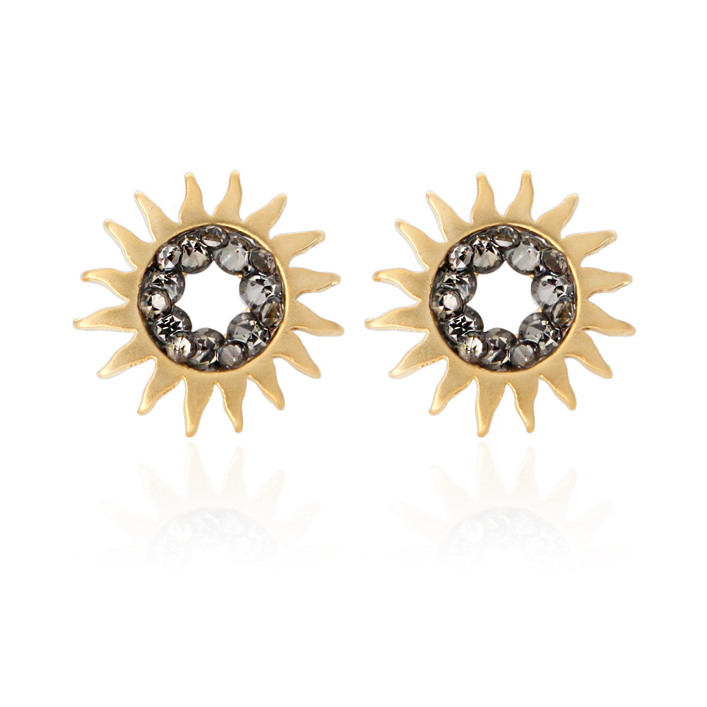 Sunburst and Black CZ Earrings