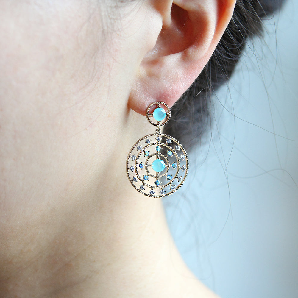Boho Crystal Dotted Circles Dangle Earrings Plated Brass