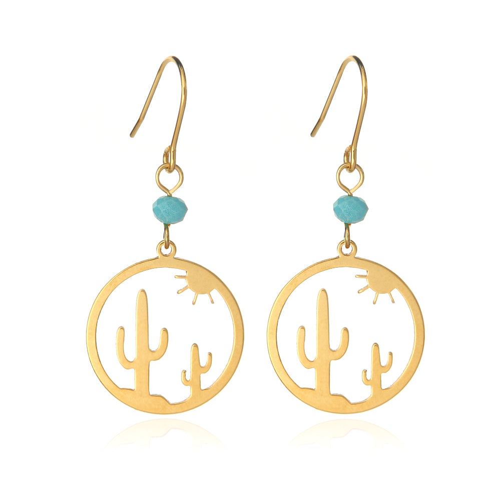 Cut Out Cactus and Sun Disc Drop Earrings