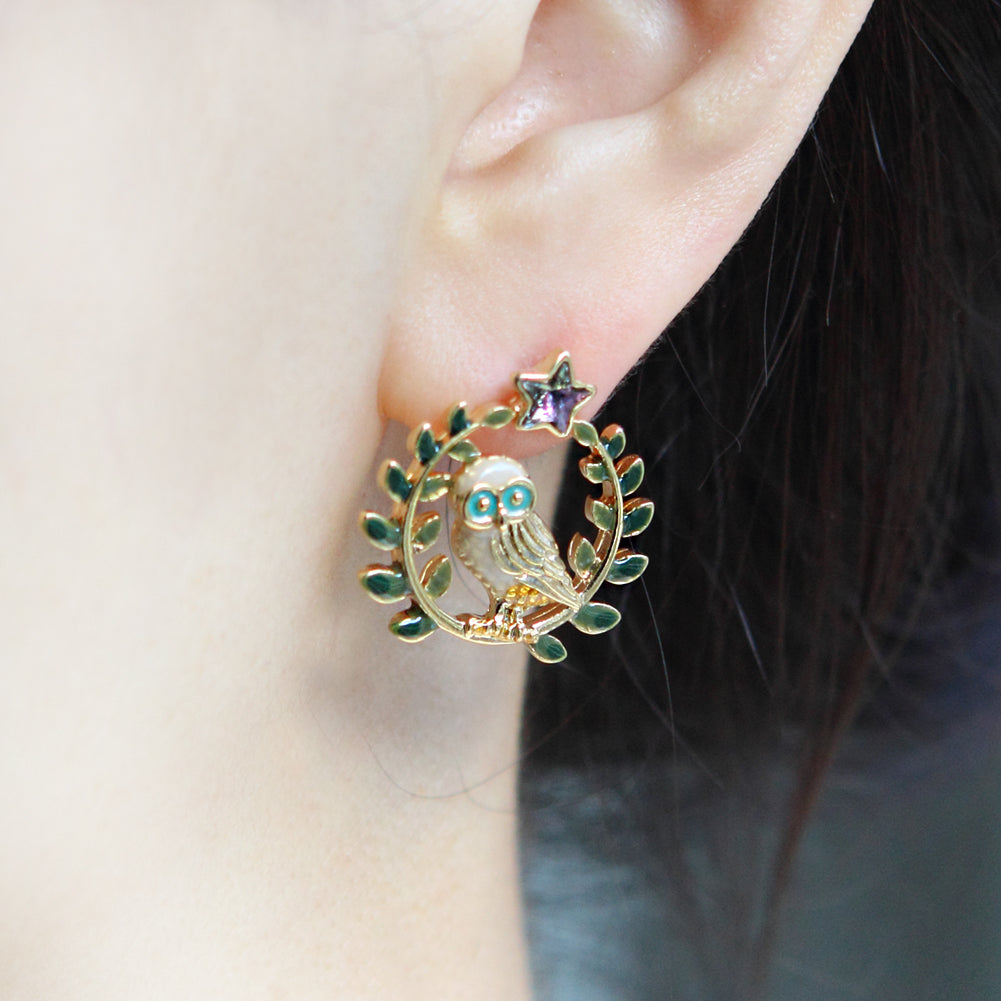 Leaves and Owl on a Twig Earrings Star Wise Owl Studs
