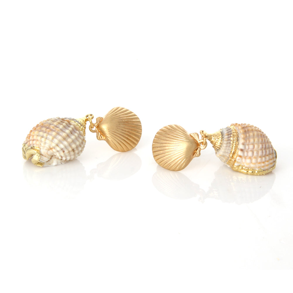 Gold Scallop and Multi color Seashell Earrings