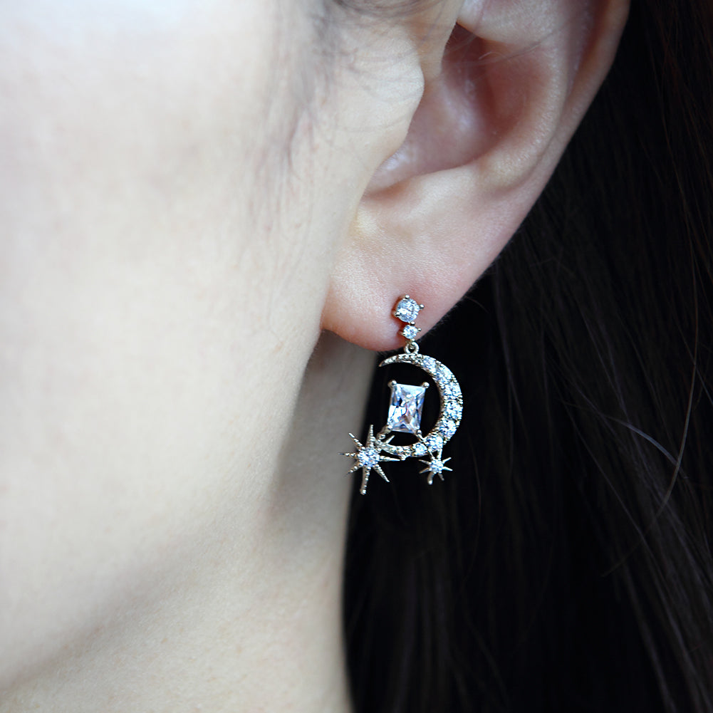 Starburst and CZ Crescent Moon Drop Earrings