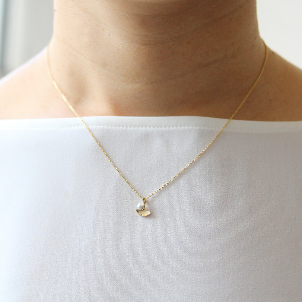 Tiny Ginkgo Leaf and Pearl Necklace
