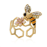 Epoxy Honeybee and Flower ring