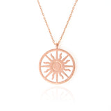Cut Out Circle Sunburst Pendant Long Necklace