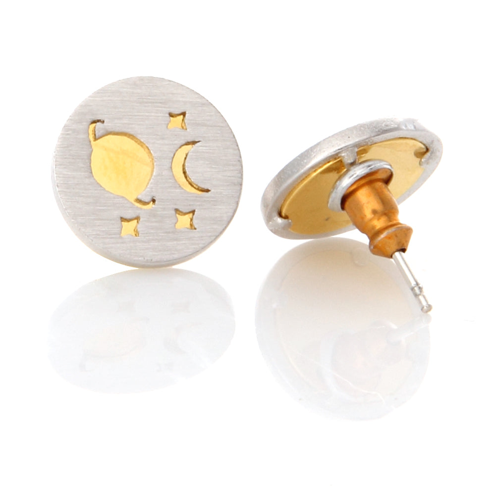 Planet and Crescent Moon 2 Tone Disc Earrings