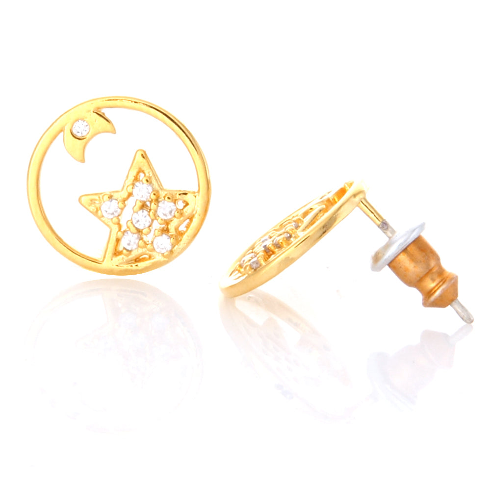 CZ Star and Tiny Crescent Moon Open Circle Earrings