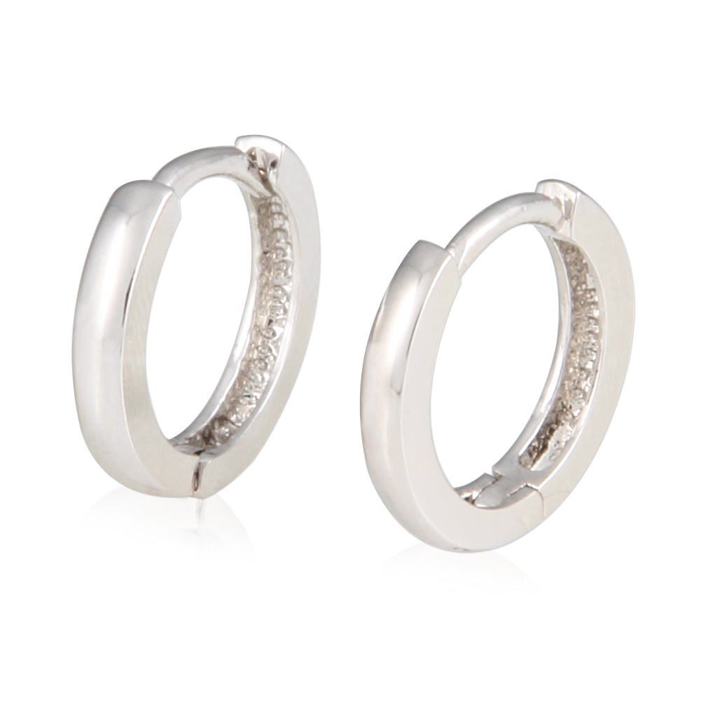 10mm_Simple Ring Huggie Small Hoop Earrings 14K Gold Plated