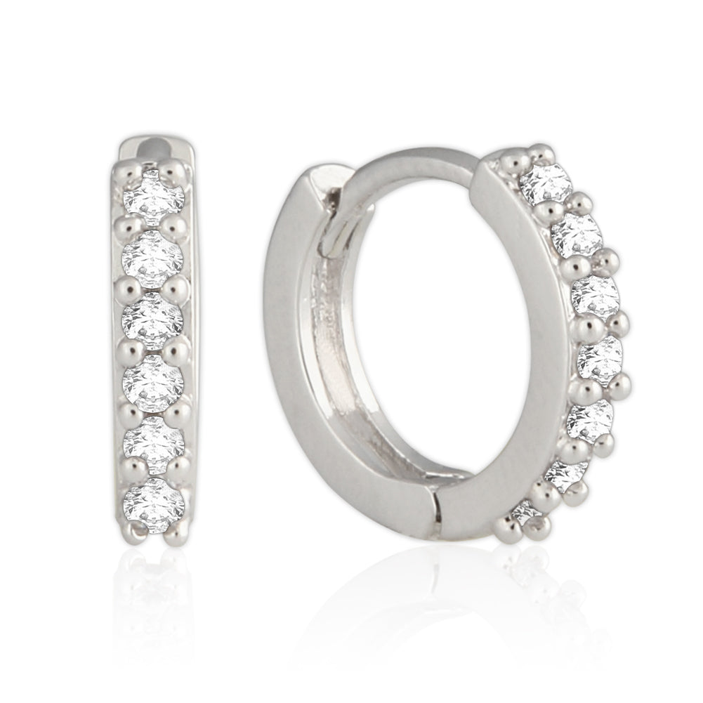 11 mm_Cubic Zirconia Small Hoop Huggie Earrings 14K Gold Plated