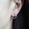 Pink Crystal and Tiny Star Half Circle Earrings Long Chain Drop Earrings