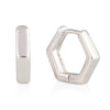 14K Gold Plated Hexagon Huggie Stud  | Cuff Earrings Small Hoop Earrings for Women