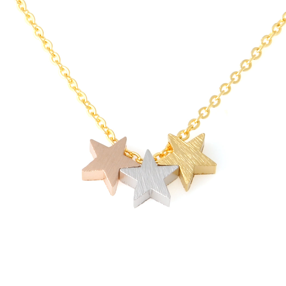 3 Mixed Color Stars Necklace