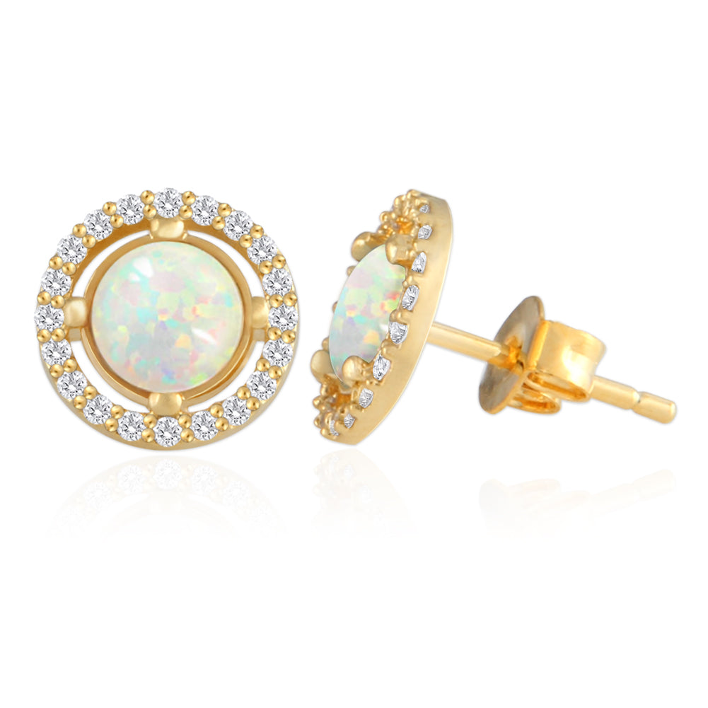 Round Created Opal and CZ Earrings 14K Gold Plated
