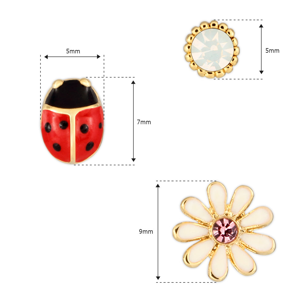 3 set of Ladybug Daisy and Round CZ earrings for Girls