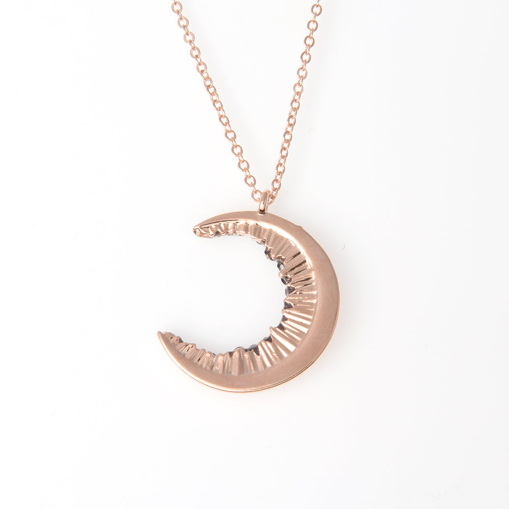 Crescent Moon and Black CZ Necklace
