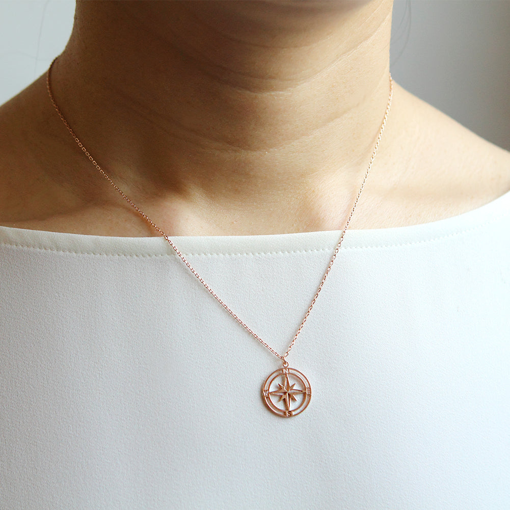 Cutout Disc Compass Necklace