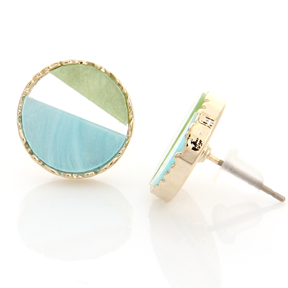 Two Tone Mother of Pearl Acryl Circle Earrings Mint