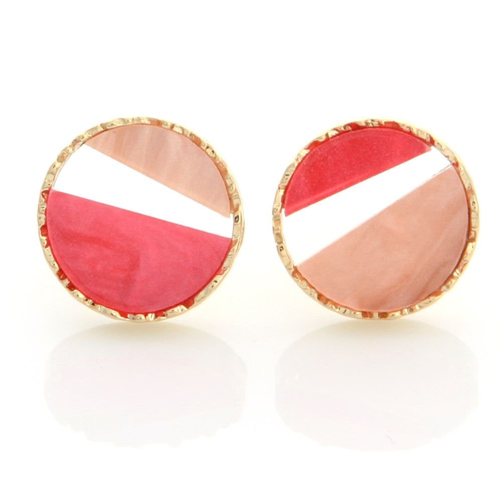 Two Tone Mother of Pearl Acryl Circle Earrings Pink