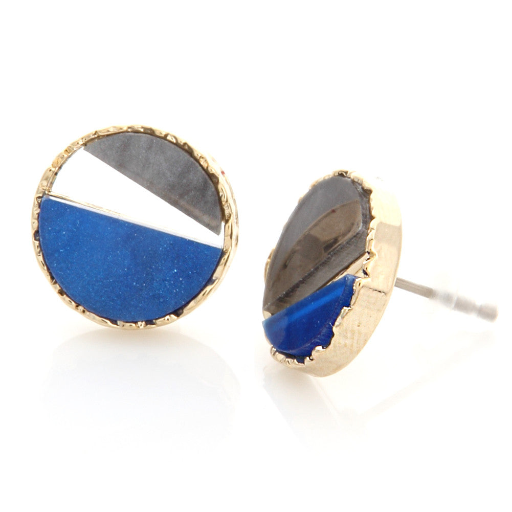 Two Tone Mother of Pearl Acryl Circle Earrings Blue