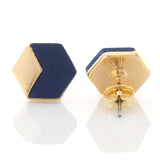 Geometric Hexagon Leather Earrings Navy