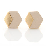 Geometric Hexagon Leather Earrings Ivory