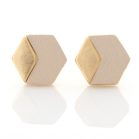 Geometric Triangle Leather Stud Eearrings gray