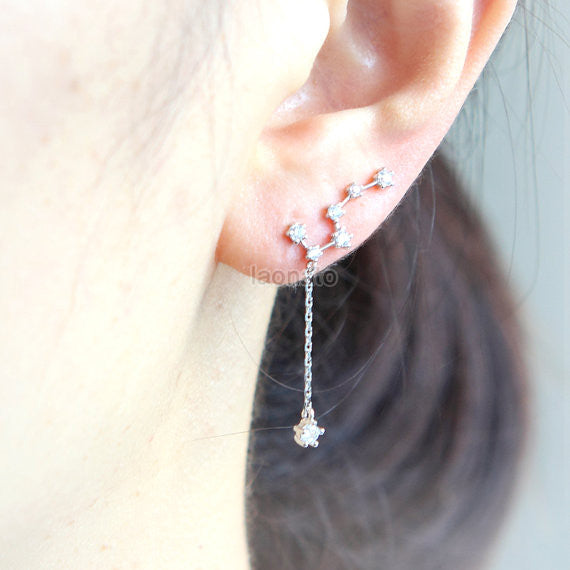 Big Dipper Ear Climber with a drop chain