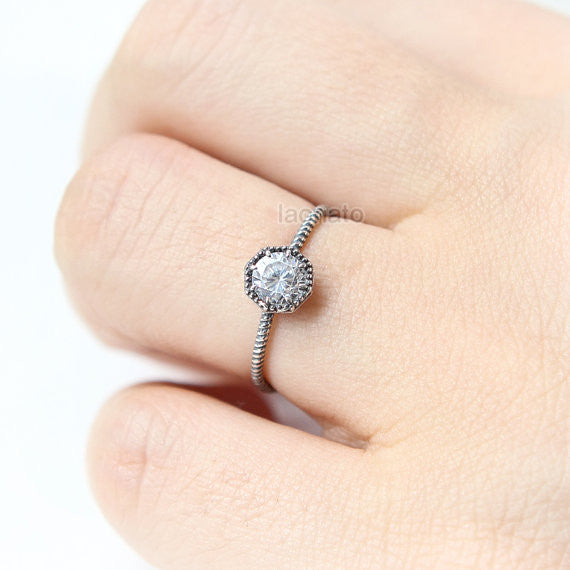 Octagon CZ Ring in oxidized sterling silver / bezel set ring