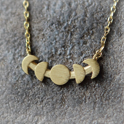 2 Tone Crescent Moon and Stars Necklace