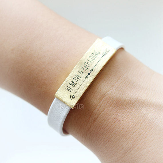 12MM Brushed Bar Leather Bracelet / Trust the Journey, Be brave & keep going