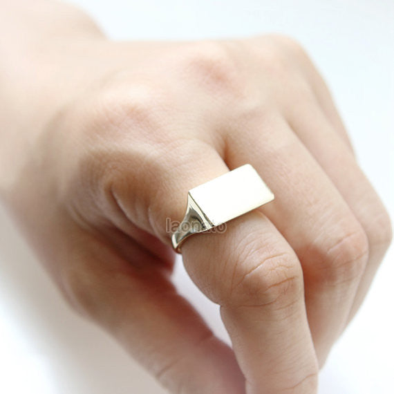 Geometry Ring in gold / Triangle, Oval, Rectangle ring