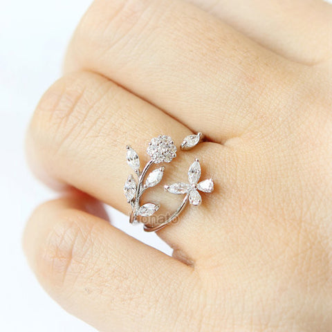 Tiny Leaf and Branch Ring