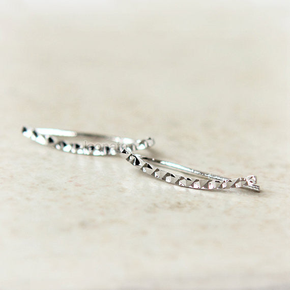 Faceted Curve Bar Ear Climber, ear cuff