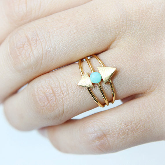 Tiny Stone and Triangles Ring