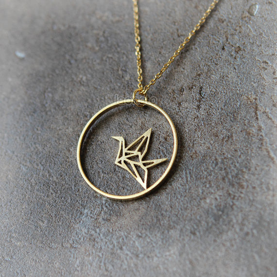 Origami Crane and circle Necklace