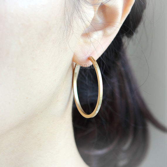 Simply matte gold hoops earrings