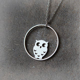 Owl and Circle Necklace