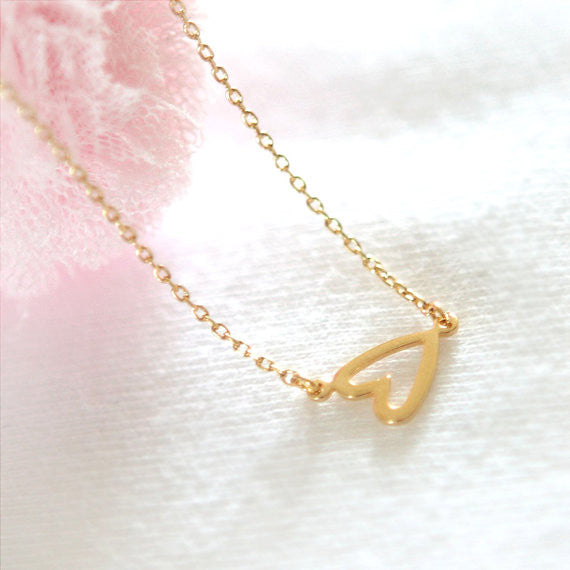 Open Heart Necklace in gold