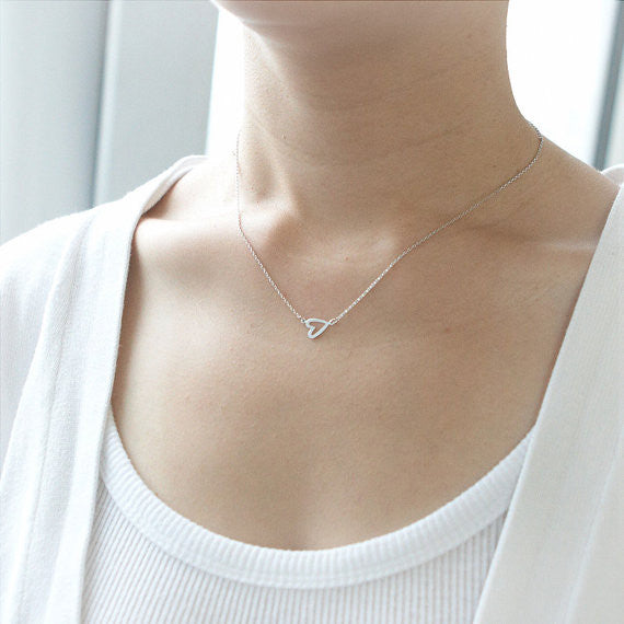 Open Heart Necklace in silver