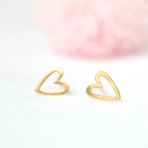 Open Heart Earrings in gold