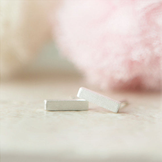 Tiny Silver Bar Earrings